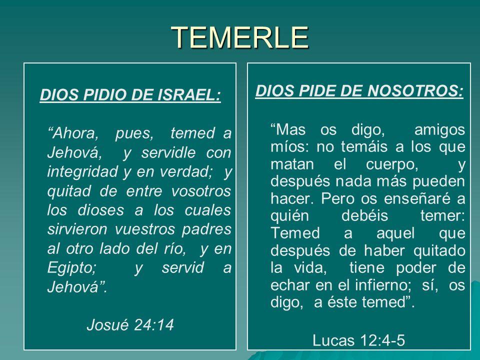TEMERLE DIOS PIDIO DE ISRAEL: Ahora, pues, temed a Jehová, y servidle con integridad y en verdad; y quitad de entre vosotros los dioses a los cuales s
