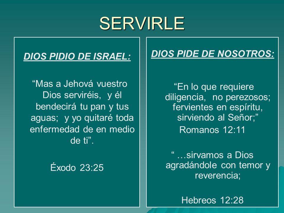 SERVIRLE DIOS PIDIO DE ISRAEL: Mas a Jehová vuestro Dios serviréis, y él bendecirá tu pan y tus aguas; y yo quitaré toda enfermedad de en medio de ti.