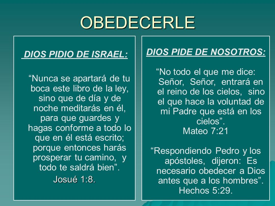 OBEDECERLE DIOS PIDIO DE ISRAEL: Nunca se apartará de tu boca este libro de la ley, sino que de día y de noche meditarás en él, para que guardes y hag