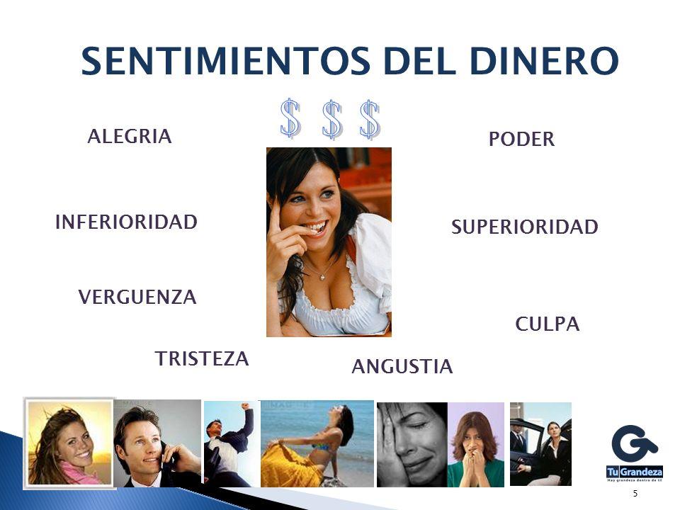 5 PODER ALEGRIA SENTIMIENTOS DEL DINERO INFERIORIDAD SUPERIORIDAD VERGUENZA TRISTEZA CULPA ANGUSTIA