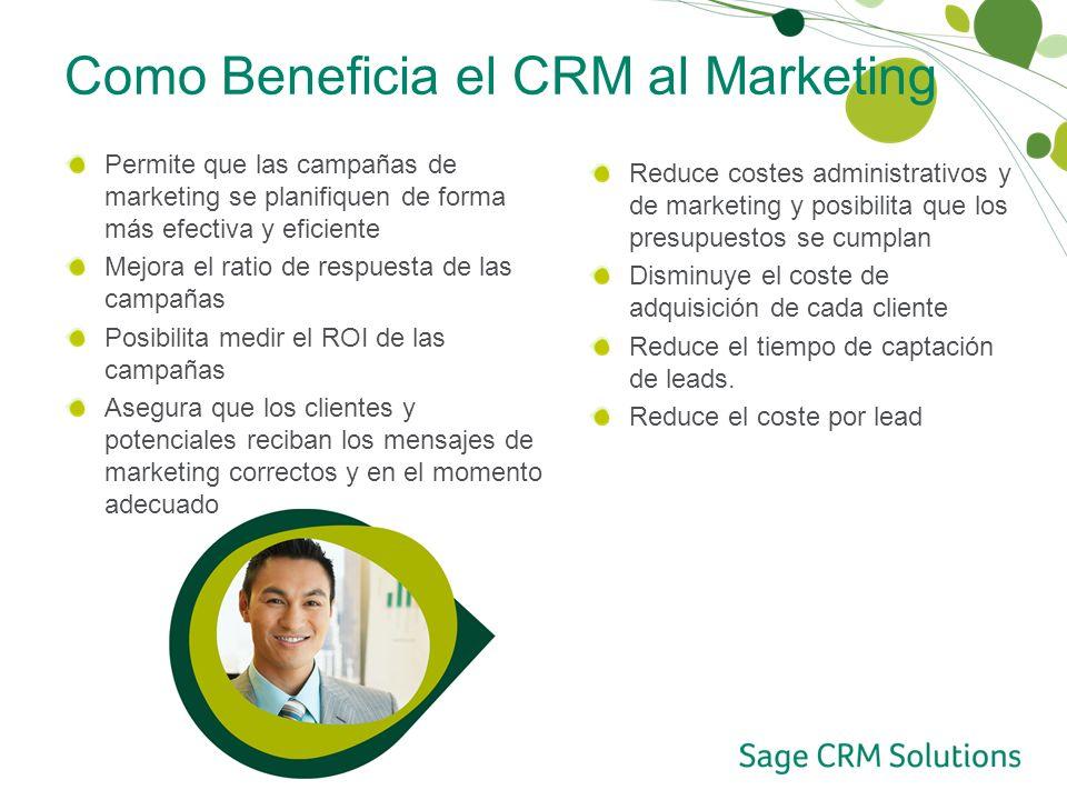 Como Beneficia el CRM al Marketing Permite que las campañas de marketing se planifiquen de forma más efectiva y eficiente Mejora el ratio de respuesta