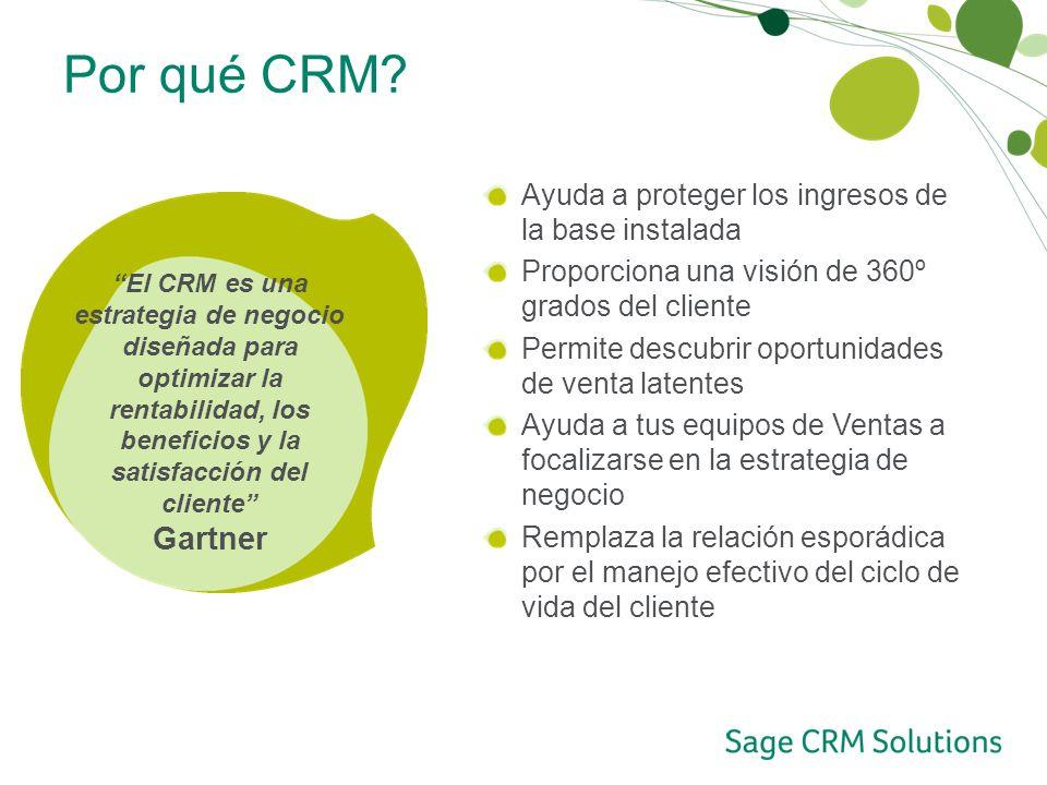 Por qué CRM? Ayuda a proteger los ingresos de la base instalada Proporciona una visión de 360º grados del cliente Permite descubrir oportunidades de v