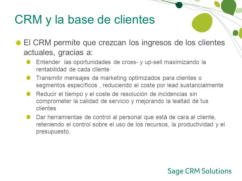 CRM y la base de clientes El CRM permite que crezcan los ingresos de los clientes actuales, gracias a: Entender las oportunidades de cross- y up-sell