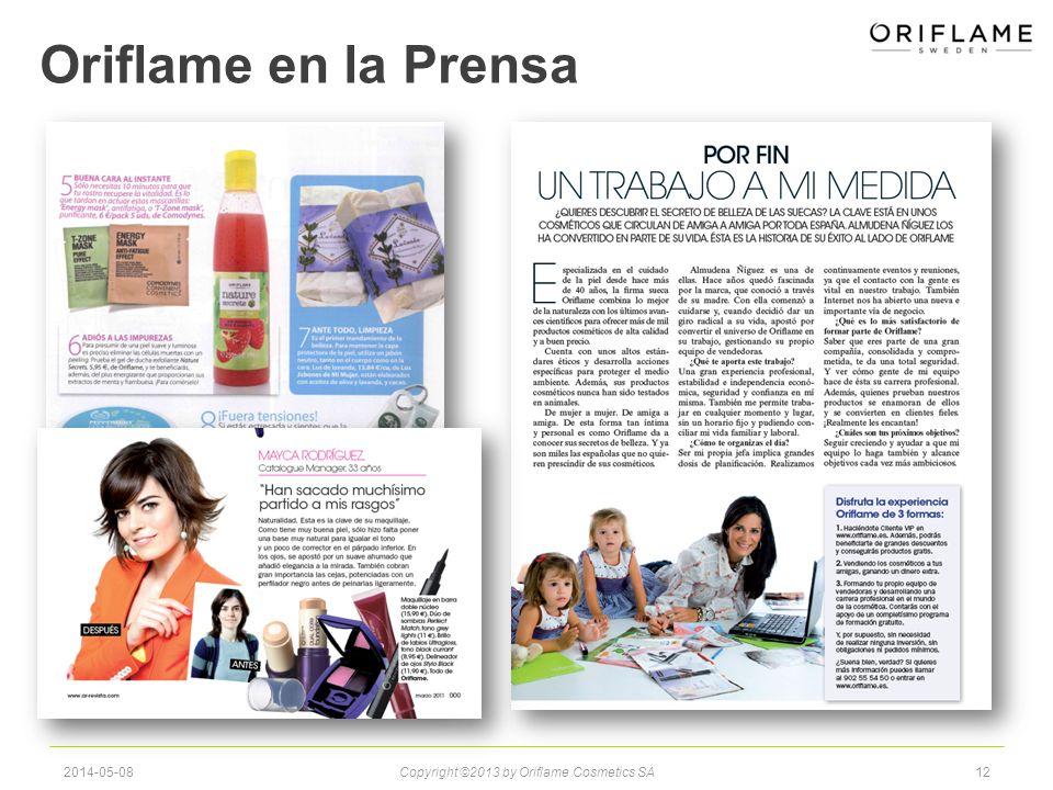 Oriflame en la Prensa 2014-05-08Copyright ©2013 by Oriflame Cosmetics SA12