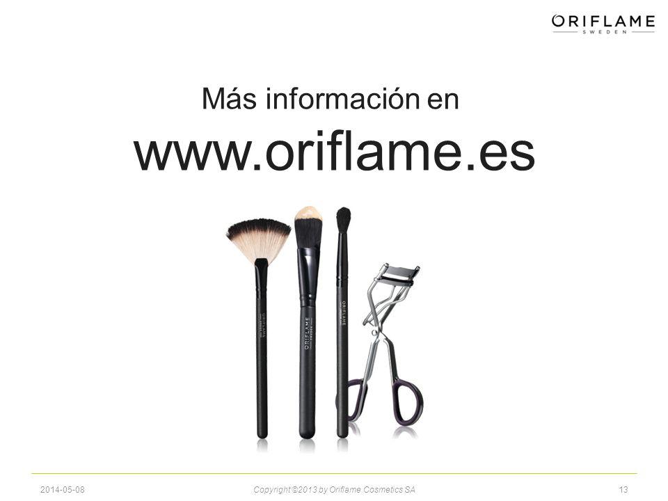 132014-05-08Copyright ©2013 by Oriflame Cosmetics SA Más información en www.oriflame.es