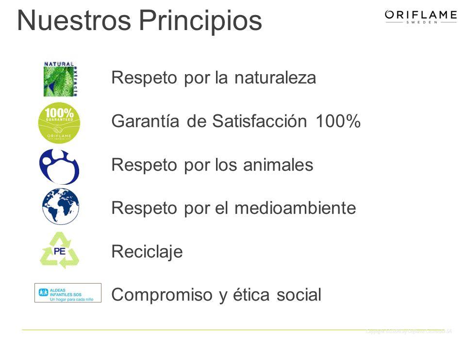 Copyright ©2008 by Oriflame Cosmetics SA Respeto por la naturaleza Garantía de Satisfacción 100% Respeto por los animales Respeto por el medioambiente Reciclaje Compromiso y ética social Nuestros Principios