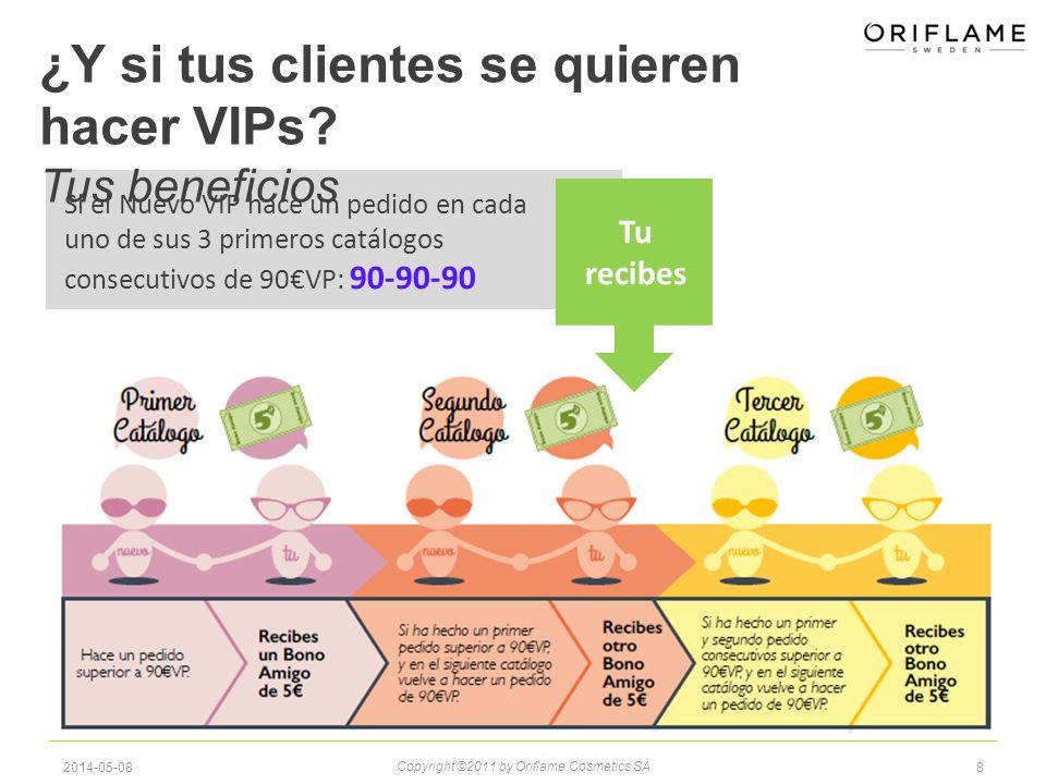82014-05-08 Copyright ©2011 by Oriflame Cosmetics SA Si el Nuevo VIP hace un pedido en cada uno de sus 3 primeros catálogos consecutivos de 90VP: 90-90-90 ¿Y si tus clientes se quieren hacer VIPs.
