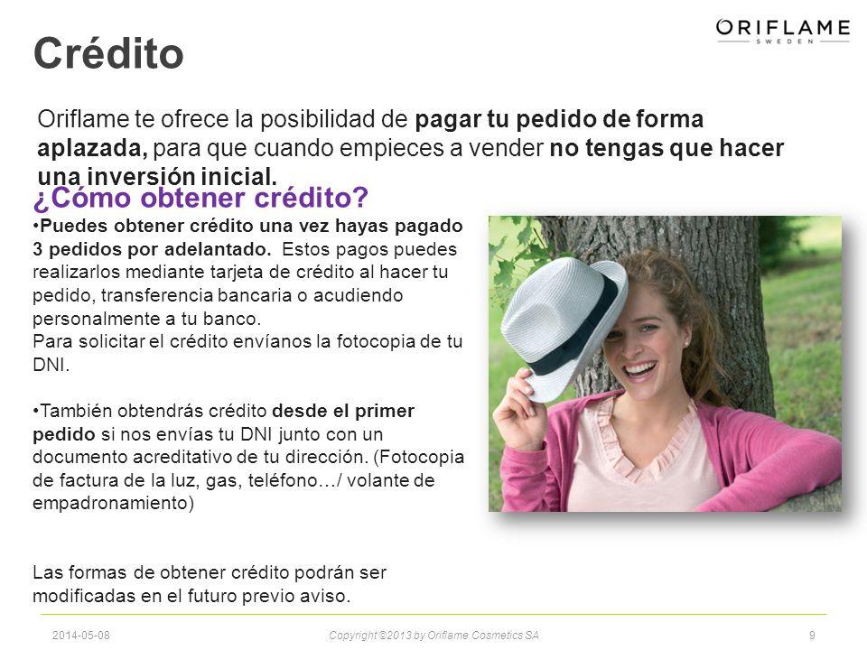 Crédito Oriflame te ofrece la posibilidad de pagar tu pedido de forma aplazada, para que cuando empieces a vender no tengas que hacer una inversión inicial.