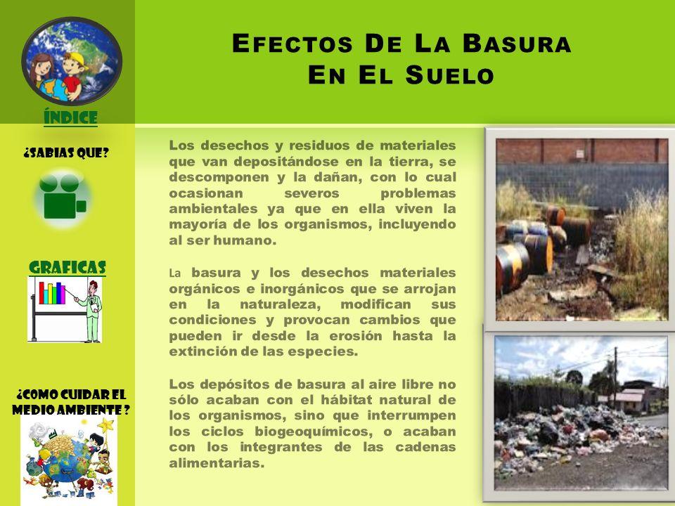 E FECTOS D E L A B ASURA E N E L S UELO Los desechos y residuos de materiales que van depositándose en la tierra, se descomponen y la dañan, con lo cual ocasionan severos problemas ambientales ya que en ella viven la mayoría de los organismos, incluyendo al ser humano.