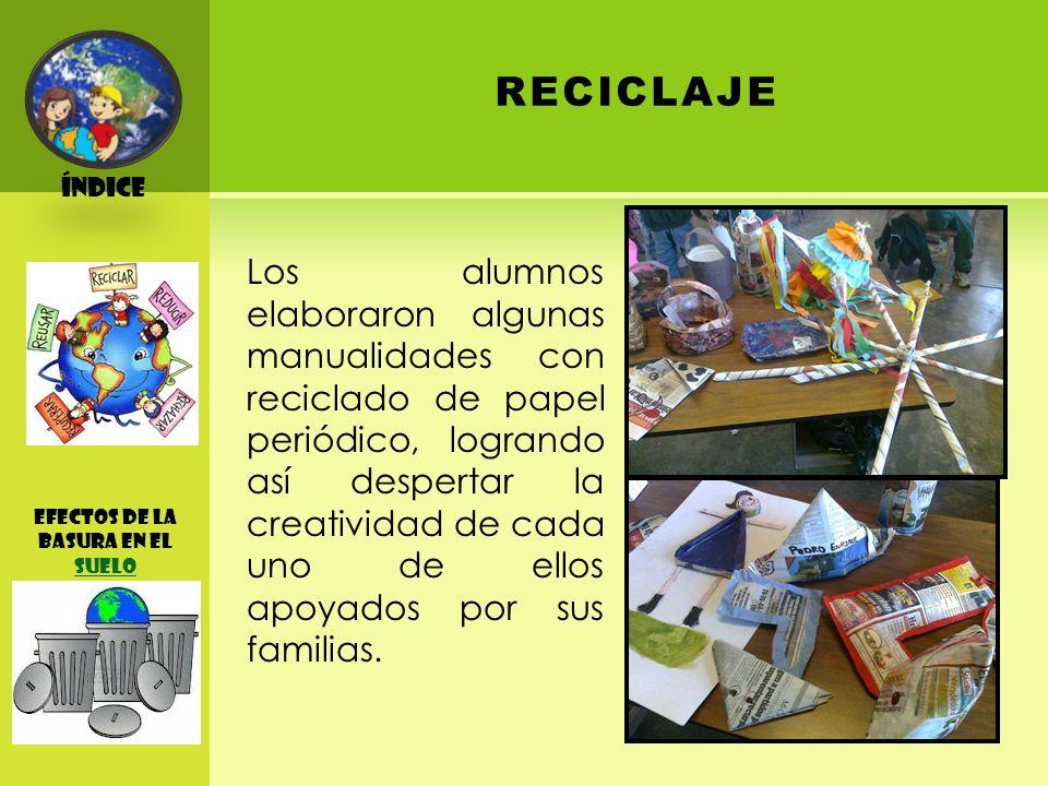 Índice RECICLAJE efectos de la basura EN EL SUELO SUELO Los alumnos elaboraron algunas manualidades con reciclado de papel periódico, logrando así despertar la creatividad de cada uno de ellos apoyados por sus familias.