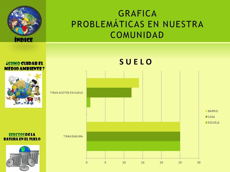 GRAFICA PROBLEMÁTICAS EN NUESTRA COMUNIDAD Índice ¡ACCIONES A REALIAZR !
