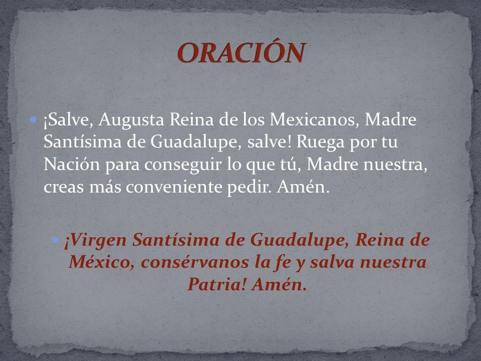 ¡Salve, Augusta Reina de los Mexicanos, Madre Santísima de Guadalupe, salve! Ruega por tu Nación para conseguir lo que tú, Madre nuestra, creas más co