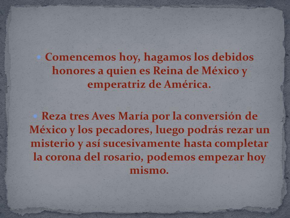 Comencemos hoy, hagamos los debidos honores a quien es Reina de México y emperatriz de América. Reza tres Aves María por la conversión de México y los