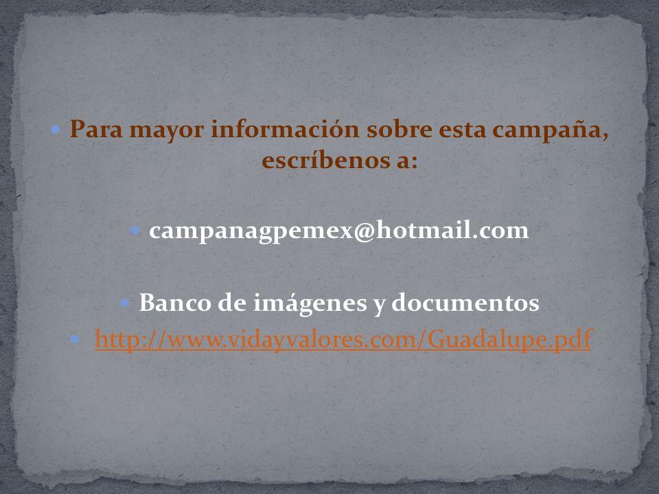 Para mayor información sobre esta campaña, escríbenos a: campanagpemex@hotmail.com Banco de imágenes y documentos http://www.vidayvalores.com/Guadalup