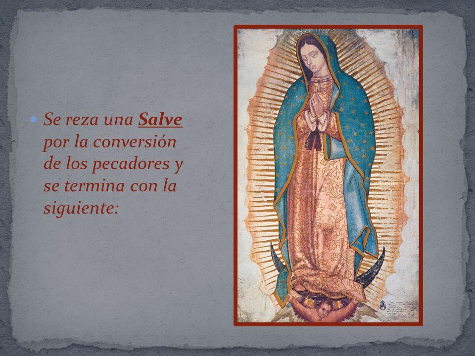 ¡Salve, Augusta Reina de los Mexicanos, Madre Santísima de Guadalupe, salve.