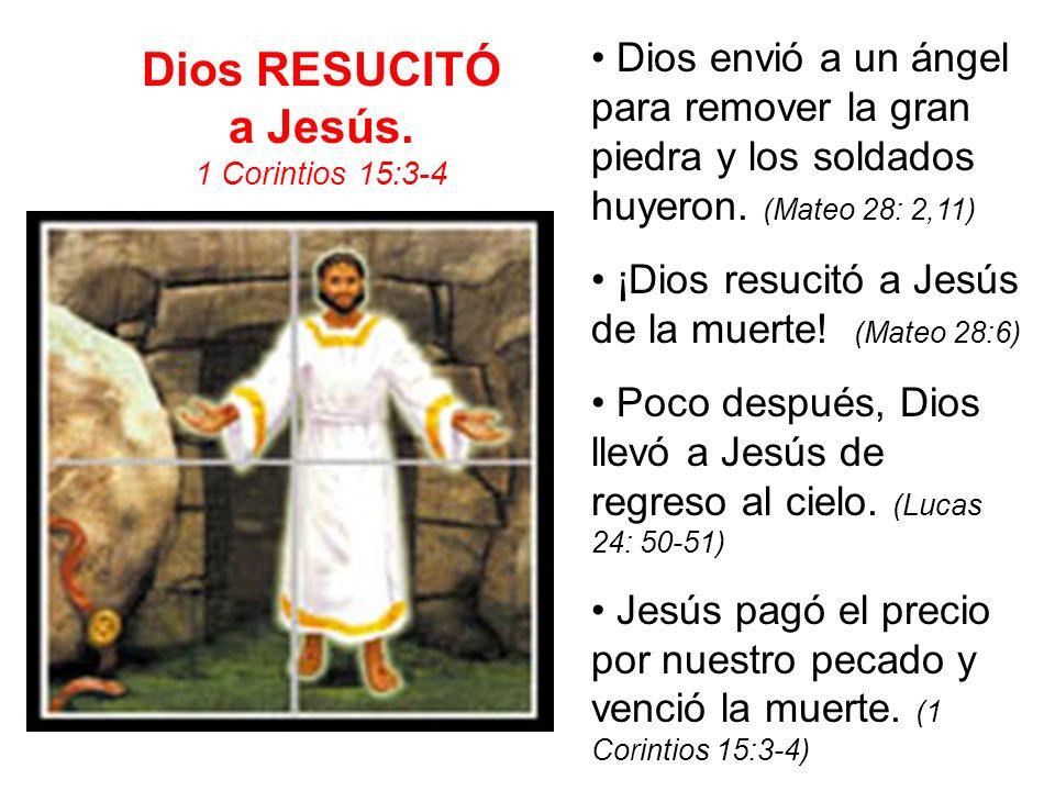 Dios RESUCITÓ a Jesús. 1 Corintios 15:3-4 Dios envió a un ángel para remover la gran piedra y los soldados huyeron. (Mateo 28: 2,11) ¡Dios resucitó a