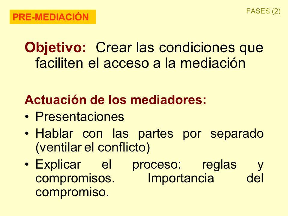 Objetivo: Crear las condiciones que faciliten el acceso a la mediación Actuación de los mediadores: Presentaciones Hablar con las partes por separado (ventilar el conflicto) Explicar el proceso: reglas y compromisos.
