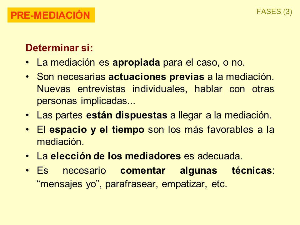 Determinar si: La mediación es apropiada para el caso, o no. Son necesarias actuaciones previas a la mediación. Nuevas entrevistas individuales, habla