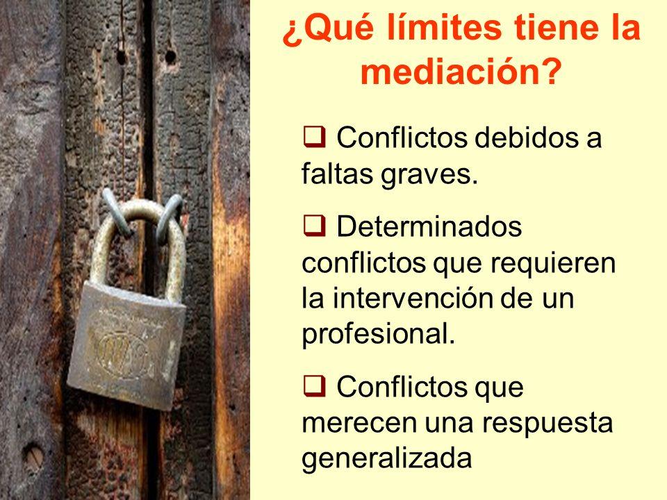 ¿Qué límites tiene la mediación? Conflictos debidos a faltas graves. Determinados conflictos que requieren la intervención de un profesional. Conflict