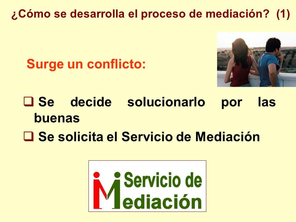 Surge un conflicto: Se decide solucionarlo por las buenas Se solicita el Servicio de Mediación ¿Cómo se desarrolla el proceso de mediación.