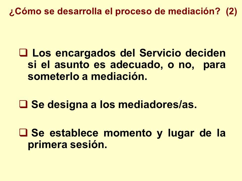 Los encargados del Servicio deciden si el asunto es adecuado, o no, para someterlo a mediación. Se designa a los mediadores/as. Se establece momento y