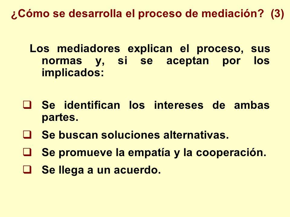 Los mediadores explican el proceso, sus normas y, si se aceptan por los implicados: Se identifican los intereses de ambas partes. Se buscan soluciones