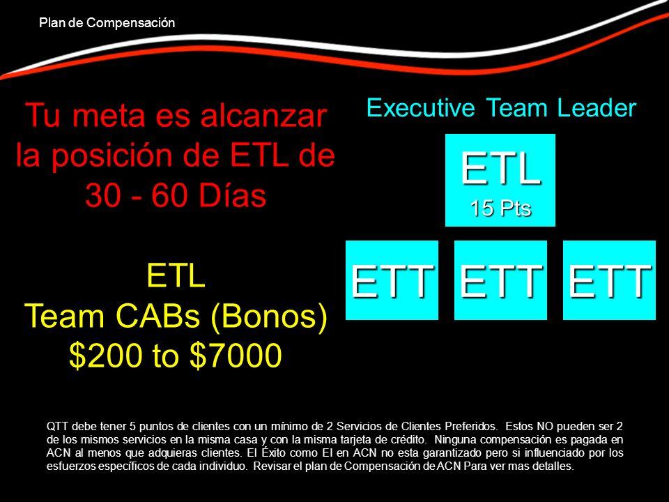 ETL 15 Pts ETTETTETT Executive Team Leader Plan de Compensación QTT debe tener 5 puntos de clientes con un mínimo de 2 Servicios de Clientes Preferidos.