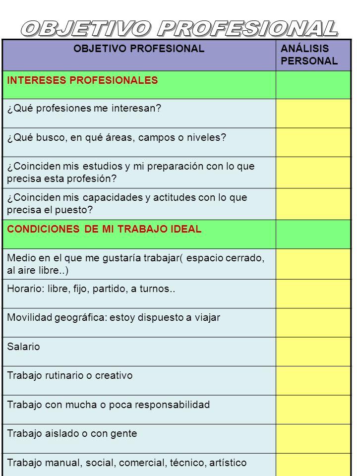 OBJETIVO PROFESIONALANÁLISIS PERSONAL INTERESES PROFESIONALES ¿Qué profesiones me interesan? ¿Qué busco, en qué áreas, campos o niveles? ¿Coinciden mi