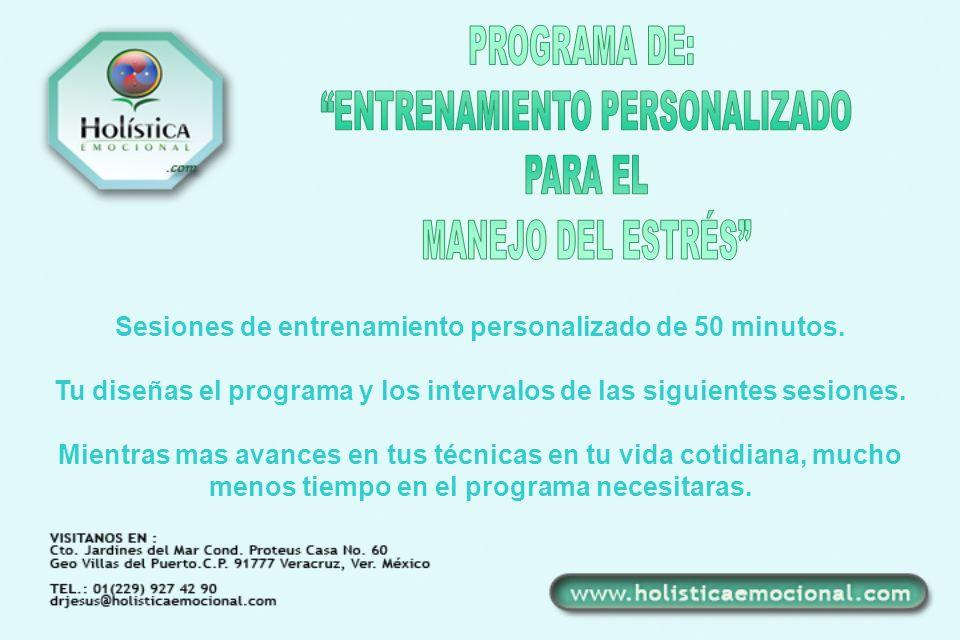 Sesiones de entrenamiento personalizado de 50 minutos. Tu diseñas el programa y los intervalos de las siguientes sesiones. Mientras mas avances en tus