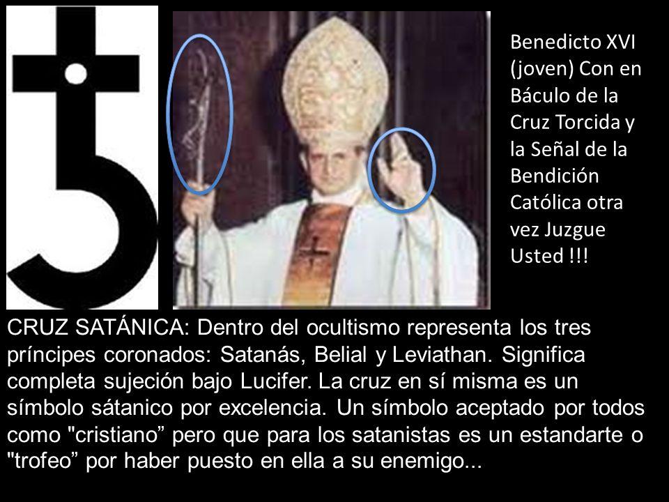 CRUZ SATÁNICA: Dentro del ocultismo representa los tres príncipes coronados: Satanás, Belial y Leviathan. Significa completa sujeción bajo Lucifer. La