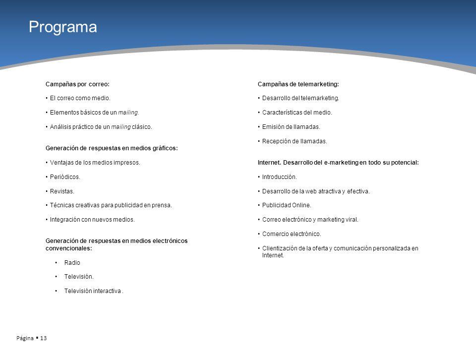 Página 13 Programa Campañas por correo: El correo como medio. Elementos básicos de un mailing. Análisis práctico de un mailing clásico. Generación de