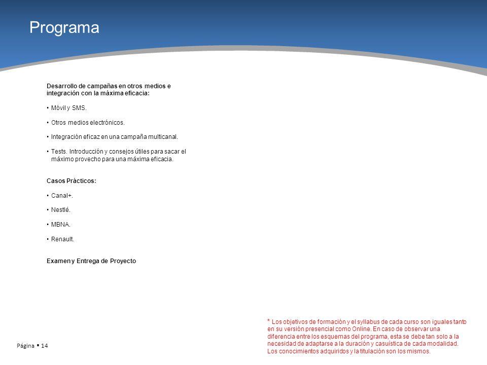 Página 14 Programa Desarrollo de campañas en otros medios e integración con la máxima eficacia: Móvil y SMS. Otros medios electrónicos. Integración ef