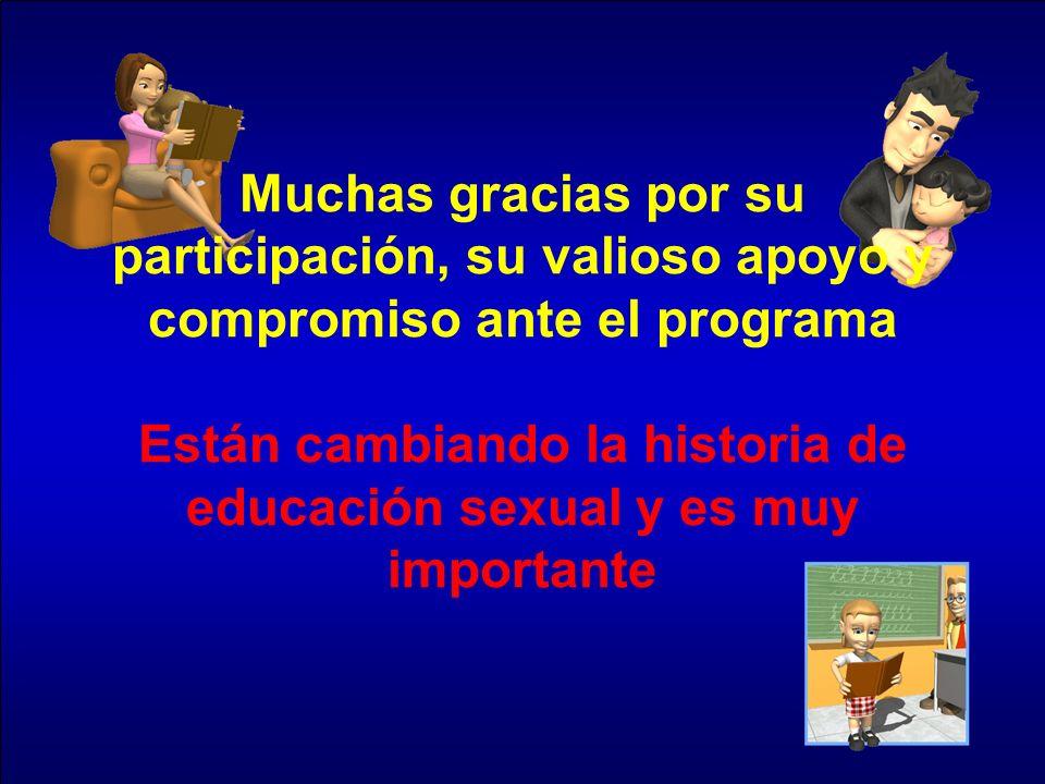 Muchas gracias por su participación, su valioso apoyo y compromiso ante el programa Están cambiando la historia de educación sexual y es muy important