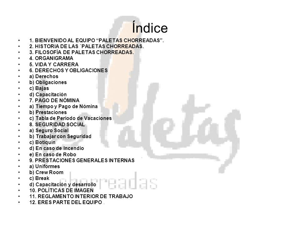Índice 1. BIENVENIDO AL EQUIPO PALETAS CHORREADAS. 2. HISTORIA DE LAS `PALETAS CHORREADAS. 3. FILOSOFÍA DE PALETAS CHORREADAS. 4. ORGANIGRAMA 5. VIDA