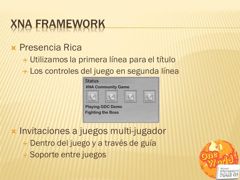 Presencia Rica Utilizamos la primera línea para el título Los controles del juego en segunda línea Invitaciones a juegos multi-jugador Dentro del jueg