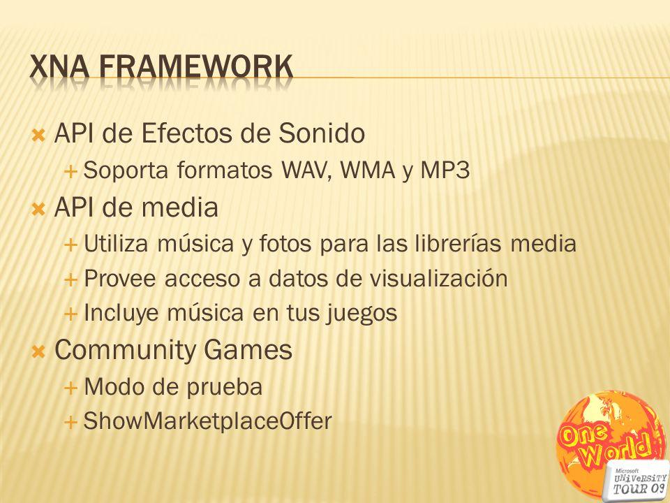 API de Efectos de Sonido Soporta formatos WAV, WMA y MP3 API de media Utiliza música y fotos para las librerías media Provee acceso a datos de visuali