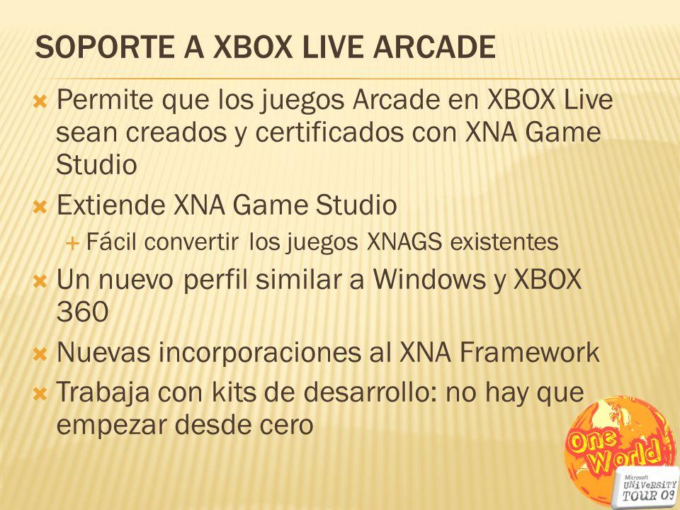 SOPORTE A XBOX LIVE ARCADE Permite que los juegos Arcade en XBOX Live sean creados y certificados con XNA Game Studio Extiende XNA Game Studio Fácil c