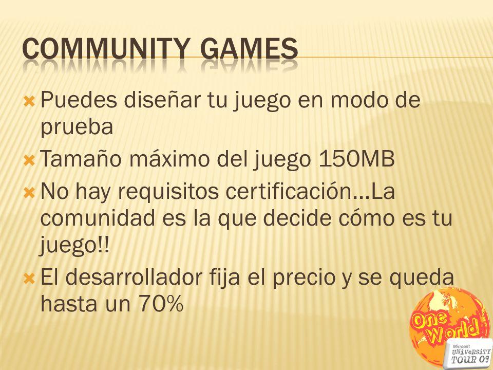Puedes diseñar tu juego en modo de prueba Tamaño máximo del juego 150MB No hay requisitos certificación…La comunidad es la que decide cómo es tu juego