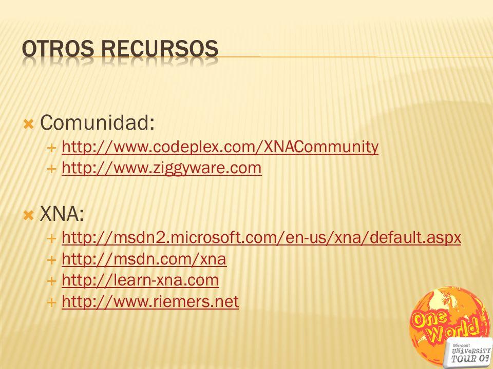 Comunidad: http://www.codeplex.com/XNACommunity http://www.ziggyware.com XNA: http://msdn2.microsoft.com/en-us/xna/default.aspx http://msdn.com/xna ht