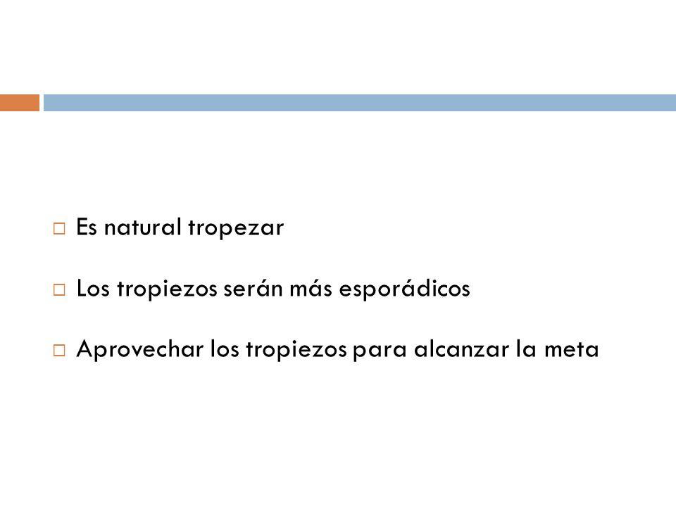 Es natural tropezar Los tropiezos serán más esporádicos Aprovechar los tropiezos para alcanzar la meta