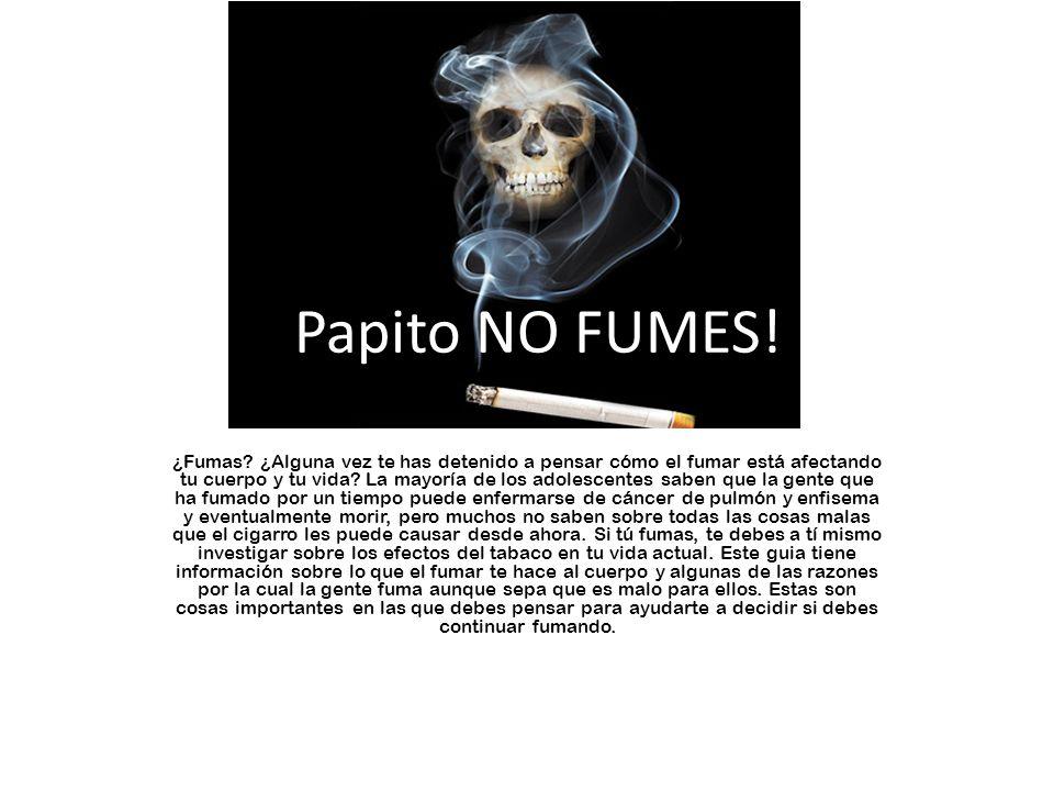 ¡Papito NO FUMES! ¿Fumas? ¿Alguna vez te has detenido a pensar cómo el fumar está afectando tu cuerpo y tu vida? La mayoría de los adolescentes saben
