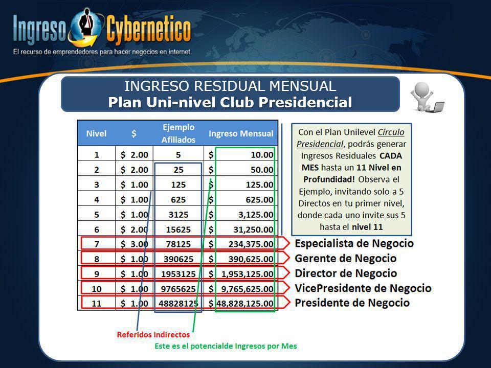 Plan Uni-nivel Club Presidencial INGRESO RESIDUAL MENSUAL Plan Uni-nivel Club Presidencial