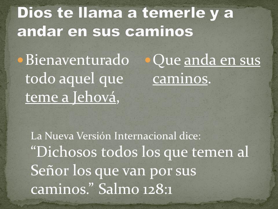 Bienaventurado todo aquel que teme a Jehová, Que anda en sus caminos. La Nueva Versión Internacional dice: Dichosos todos los que temen al Señor los q