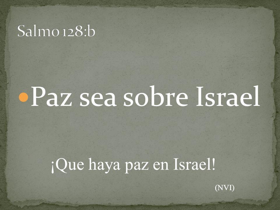 Paz sea sobre Israel ¡Que haya paz en Israel! (NVI)