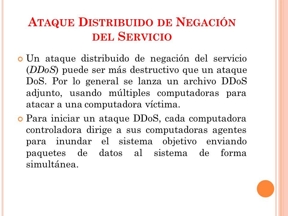 A TAQUE D ISTRIBUIDO DE N EGACIÓN DEL S ERVICIO Un ataque distribuido de negación del servicio ( DDoS ) puede ser más destructivo que un ataque DoS.