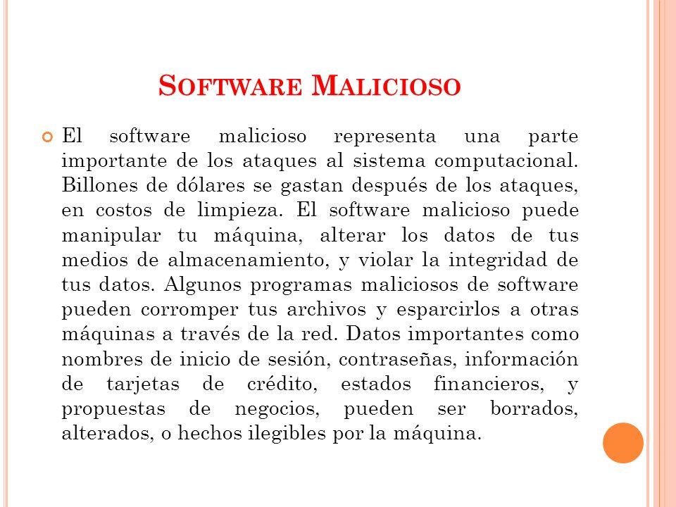 S OFTWARE M ALICIOSO El software malicioso representa una parte importante de los ataques al sistema computacional. Billones de dólares se gastan desp