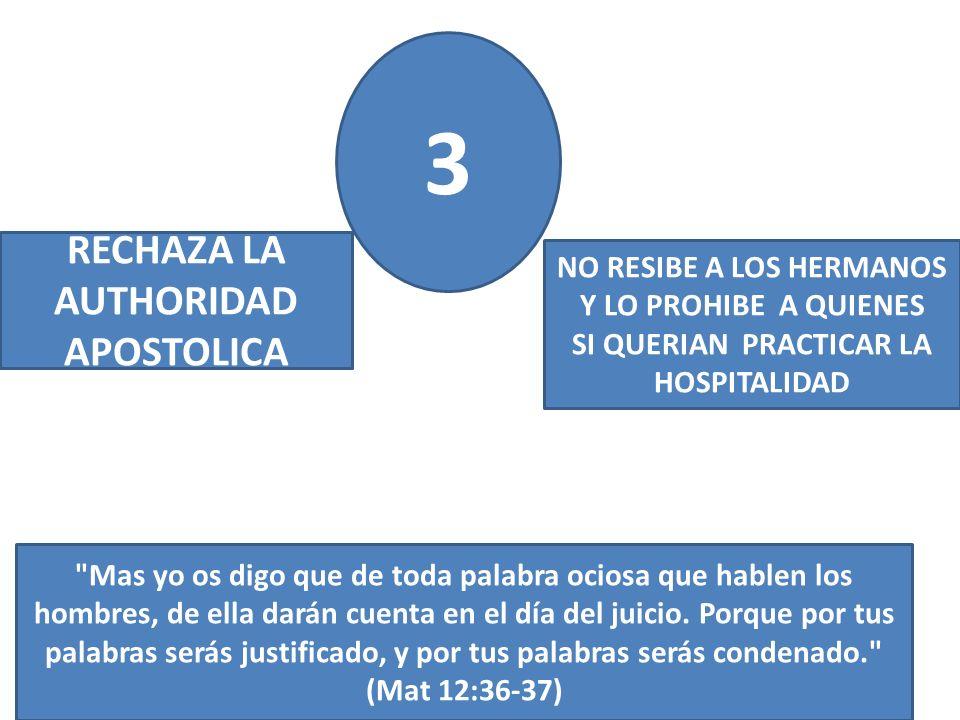 3 RECHAZA LA AUTHORIDAD APOSTOLICA NO RESIBE A LOS HERMANOS Y LO PROHIBE A QUIENES SI QUERIAN PRACTICAR LA HOSPITALIDAD