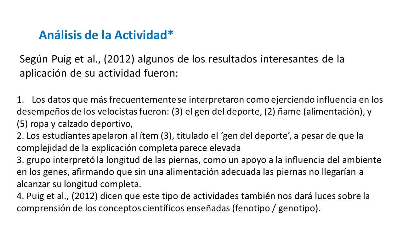 Análisis de la Actividad* Según Puig et al., (2012) algunos de los resultados interesantes de la aplicación de su actividad fueron: 1.Los datos que má