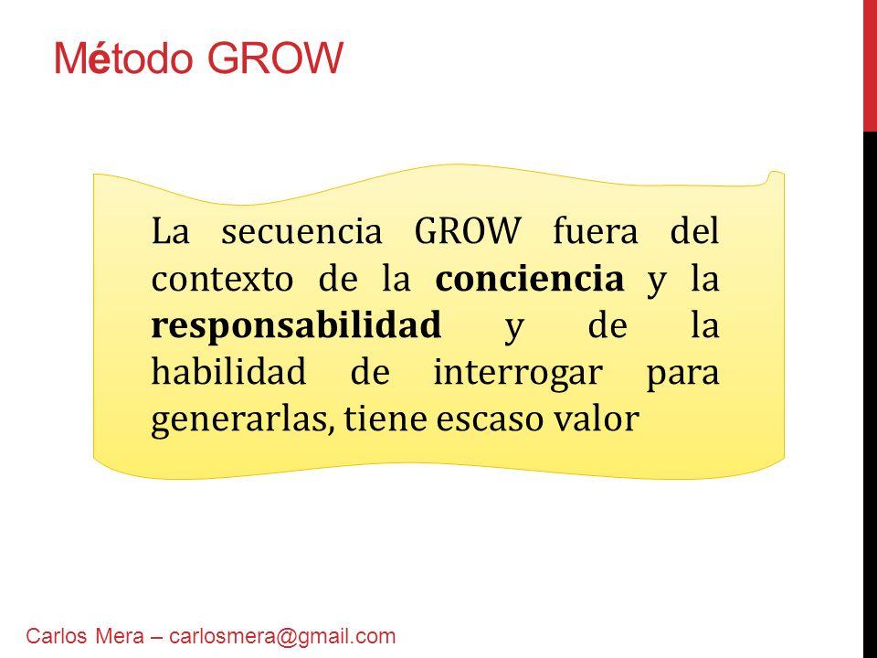 Método GROW G: Goal - aspiración o meta R: Reality - realidad O: Options - opciones o perspectivas W: Will - acciones y compromisos Carlos Mera – carlosmera@gmail.com