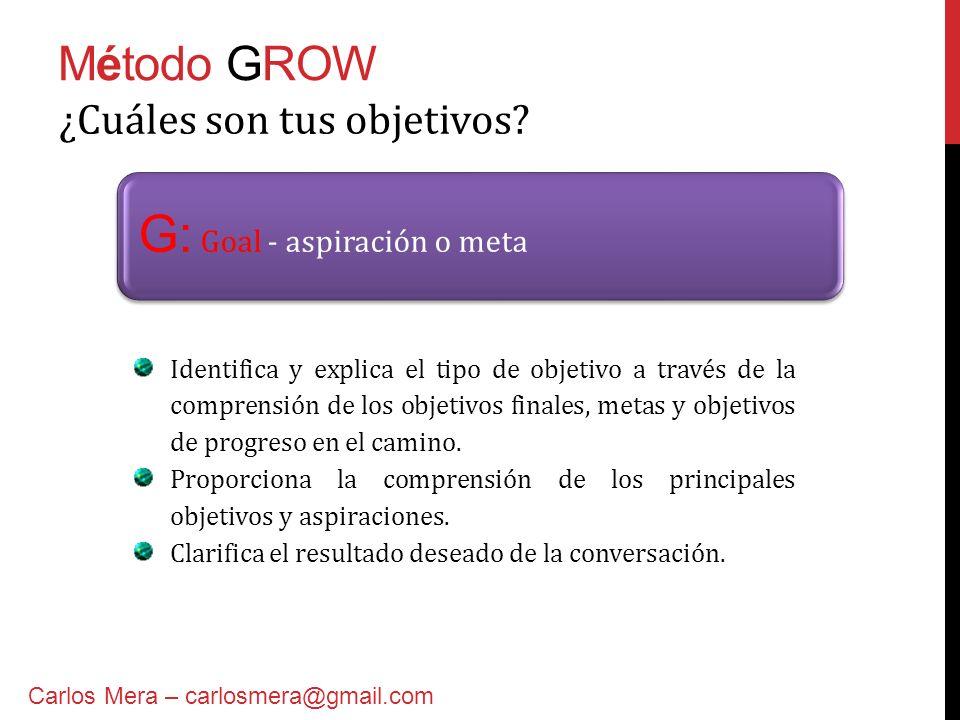 Método GROW W: Will – acciones y compromisos Preguntas adecuadas Carlos Mera – carlosmera@gmail.com ¿Cuáles son tus indicadores de éxito.